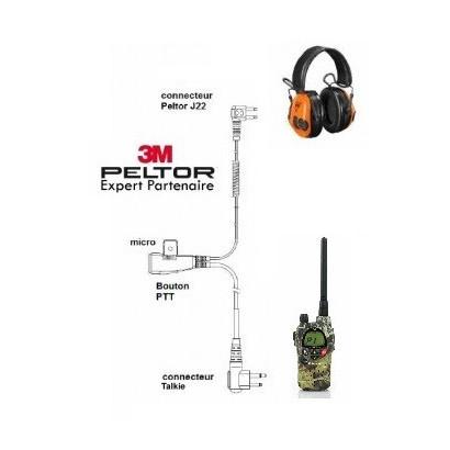 Câble micro liaison talki  MIDLAND G9 / CASQUE PELTOR 3M
